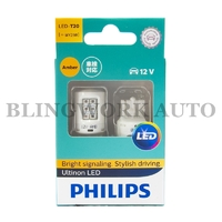 (PAIR) PHILIPS T20 WY21W Ultinon LED AMBER Indicator Turn Signal Light Bulb