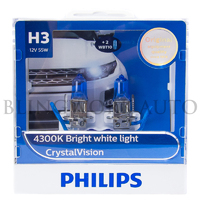 Philips H3 Crystal Vision 4300K White Halogen Bulbs