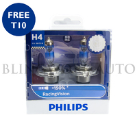Philips H4 Racing Vision +150% Halogen Bulbs