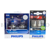 PHILIPS H4 +150% Racing Vision Halogen Bulb + Philips 4000K LED T10