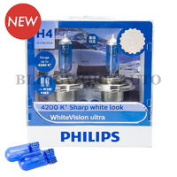Philips H4 White Vision Ultra Warm White Halogen Bulbs