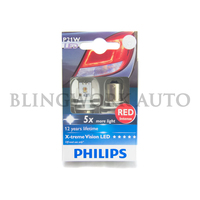 Philips RED P21W BA15s S25 X-treme Ultinon LED Bulbs