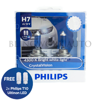 Philips H7 Crystal Vision 4300K White Halogen Bulbs