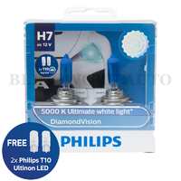 Philips H7 Diamond Vision 5000K White Halogen Bulbs
