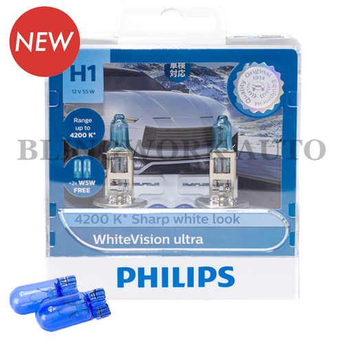 Philips H1 White Vision Ultra Warm White Halogen Bulbs