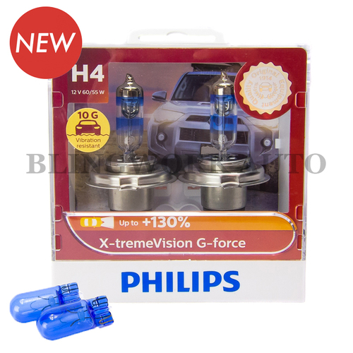Philips H4 X-treme Vision G-force +130% Halogen Bulbs