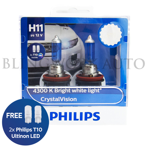 Philips H11 Crystal Vision 4300K White Halogen Bulbs