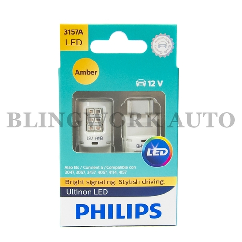 (PAIR) PHILIPS 3157 PY27/7W Ultinon LED AMBER Indicator Turn Signal Light Bulb