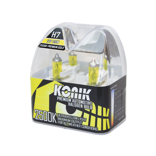 KONIK H7 Premium Gold 2500K Yellow Halogen Bulbs