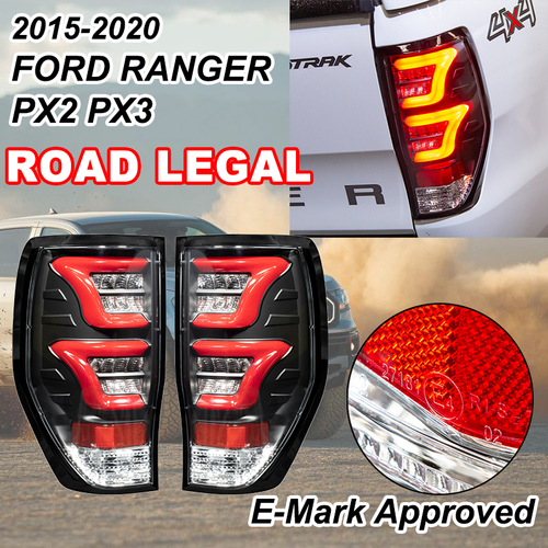 (ROAD LEGAL) Noxsolis Black LED Tail Rear Light Lamp ADR for Ford Ranger PX2 PX3 WILDTRAK RAPTOR