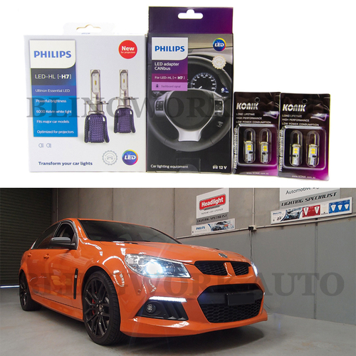 Philips H7 Projector LED Low Beam Headlight Kit + KONIK T10 Parker for Holden VF Commodore